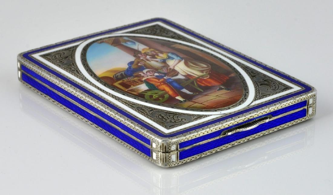 German Sterling Enameled Card Box, Hallmarked - 6