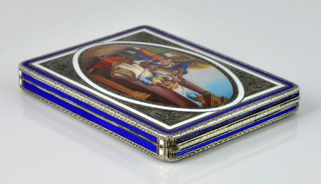 German Sterling Enameled Card Box, Hallmarked - 7