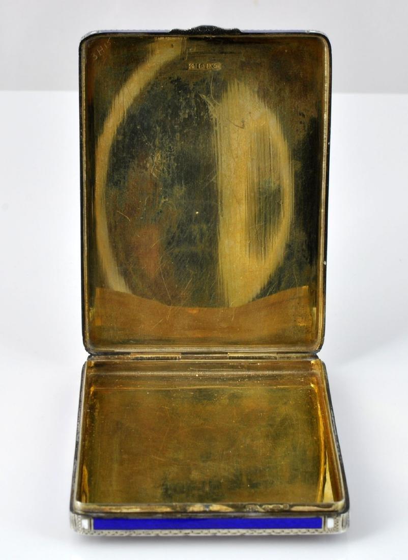 German Sterling Enameled Card Box, Hallmarked - 8