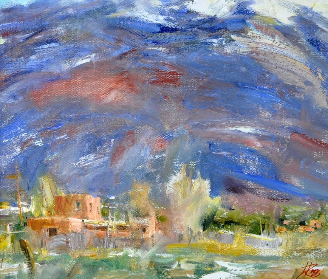"Laura Robb ""Pueblo Land"" Oil on Canvas Painting"