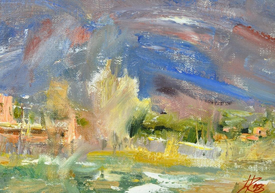 "Laura Robb ""Pueblo Land"" Oil on Canvas Painting - 5"