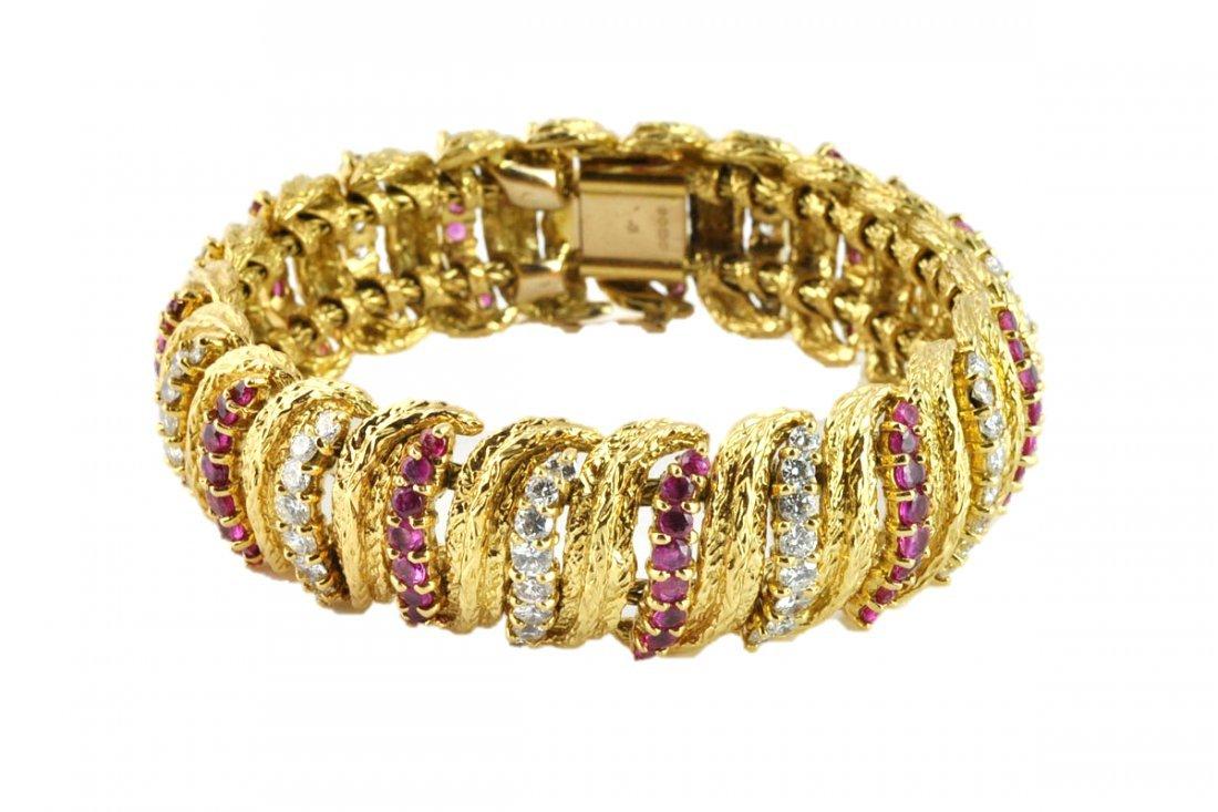 Kutchinsky 18kt. Gold Diamond & Ruby Bracelet