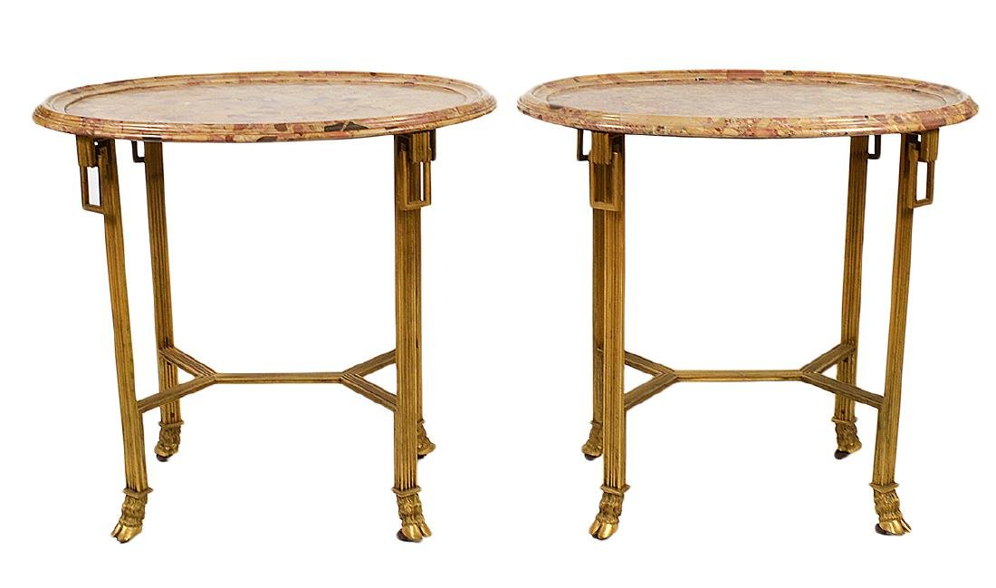 Pr. 19/20th C. French Gilded Marble Top Tables