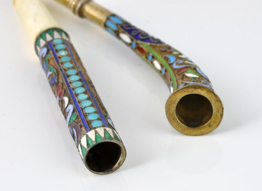 2 Russian Champleve Cigarette Holders - 9