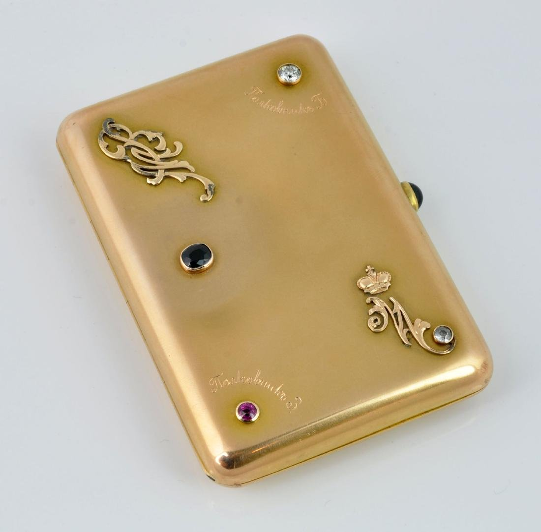 Gold Russian Cigarette Case with Gem Stones
