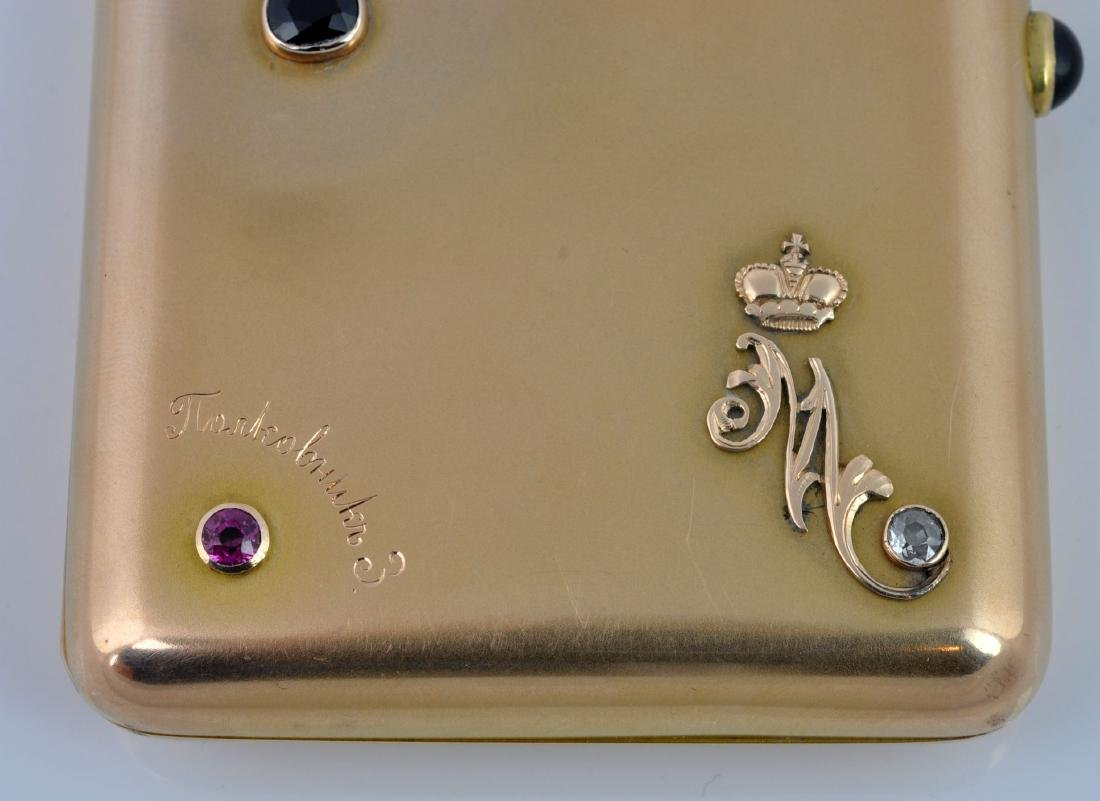 Gold Russian Cigarette Case with Gem Stones - 3