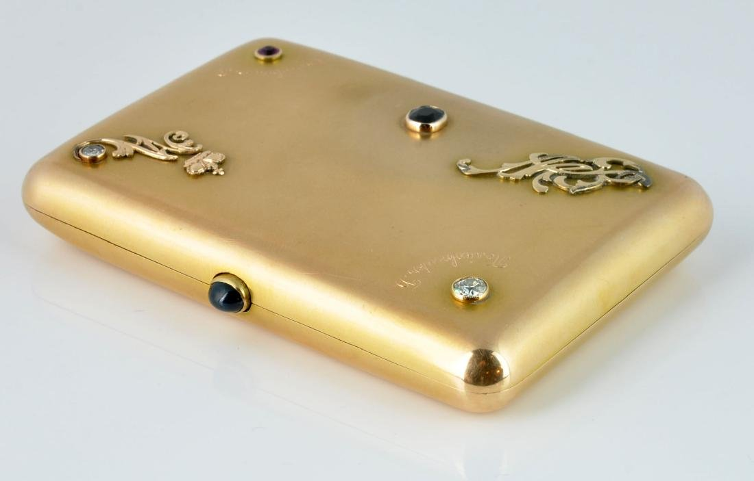 Gold Russian Cigarette Case with Gem Stones - 6
