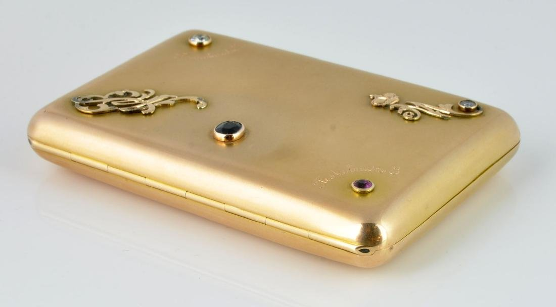 Gold Russian Cigarette Case with Gem Stones - 7