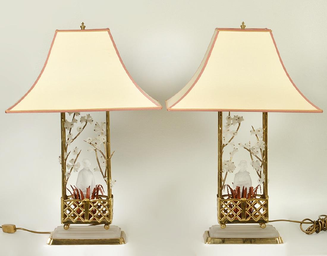 Pr. Chinoiserie Crystal & Bronze Table Lamps