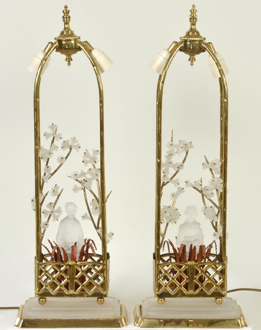 Pr. Chinoiserie Crystal & Bronze Table Lamps - 2