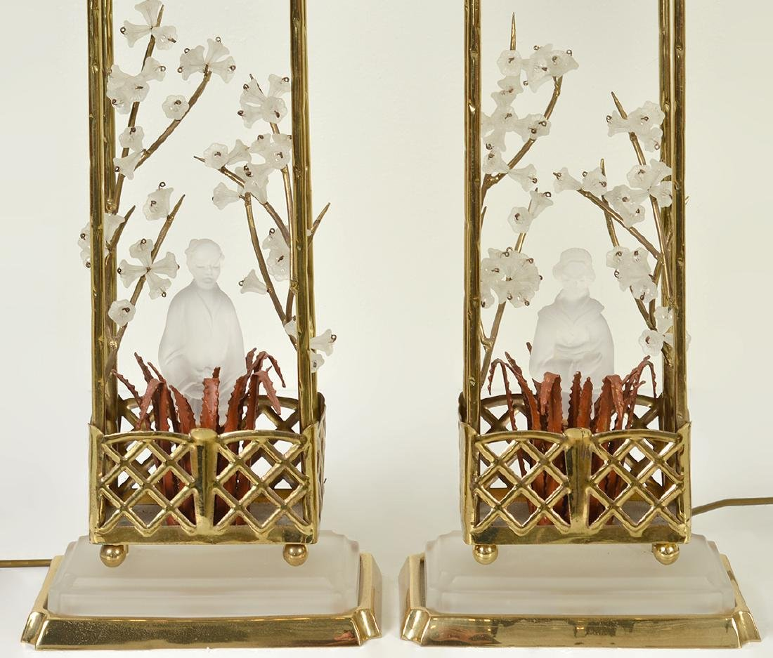 Pr. Chinoiserie Crystal & Bronze Table Lamps - 3