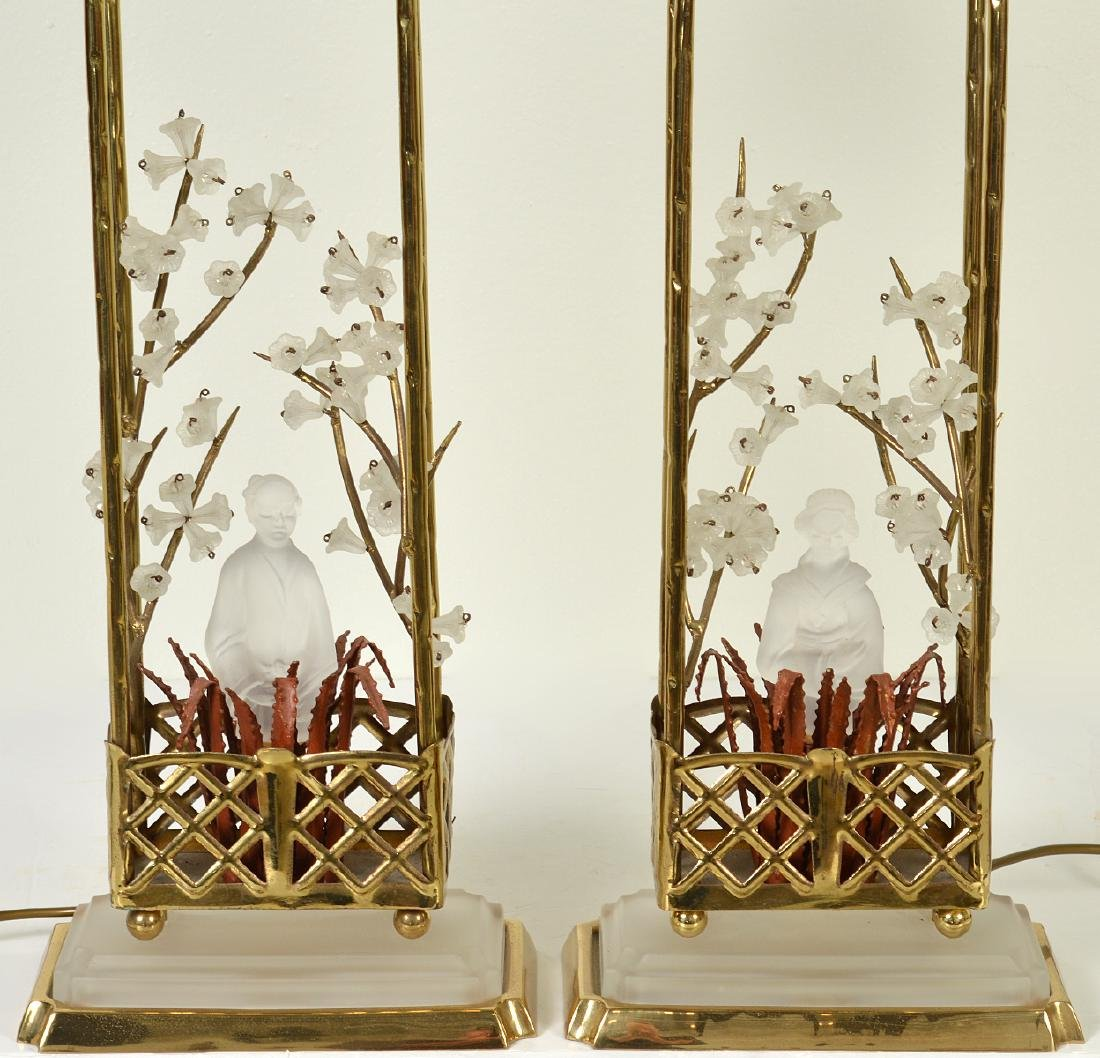 Pr. Chinoiserie Crystal & Bronze Table Lamps - 4
