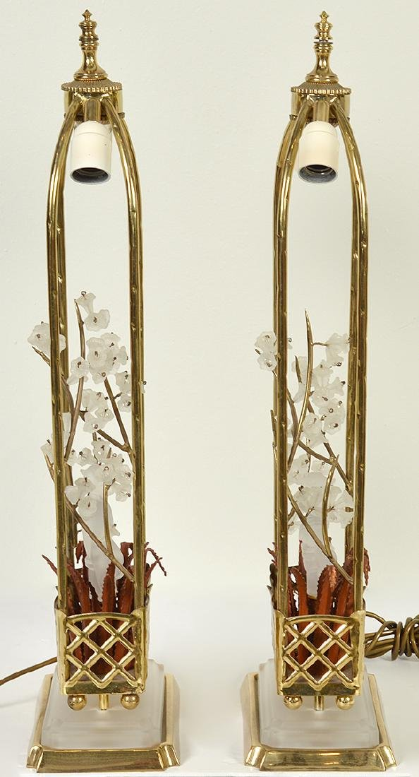 Pr. Chinoiserie Crystal & Bronze Table Lamps - 7