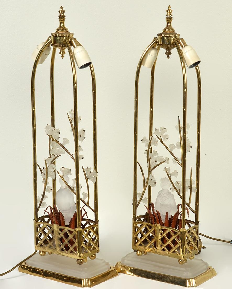 Pr. Chinoiserie Crystal & Bronze Table Lamps - 8