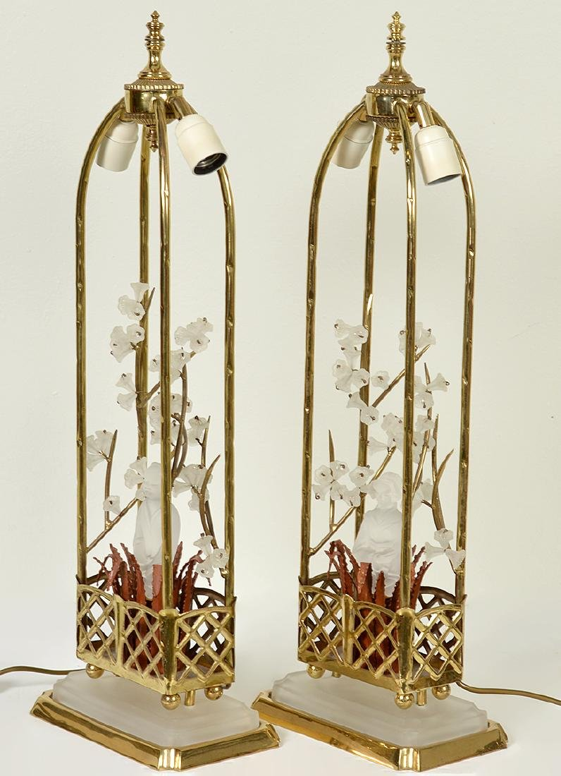 Pr. Chinoiserie Crystal & Bronze Table Lamps - 9