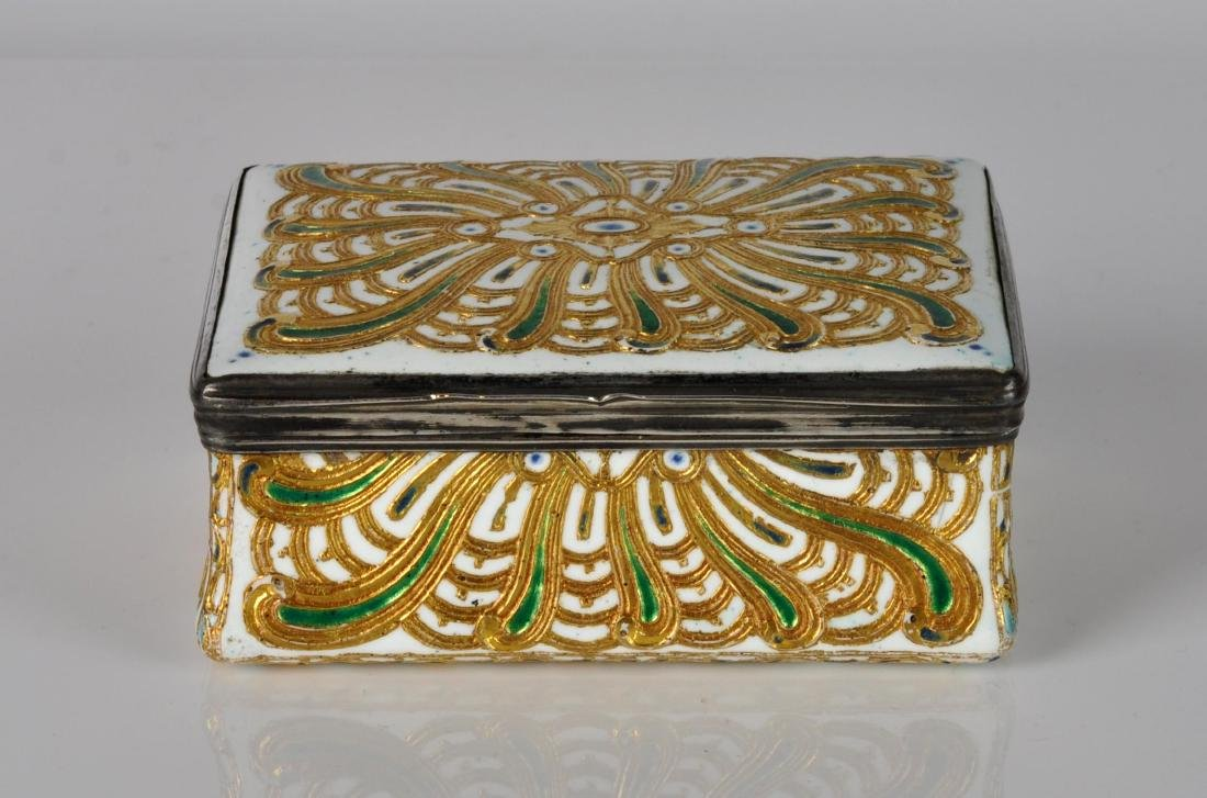 French Silver, Enamel & Gilt Trinket Box