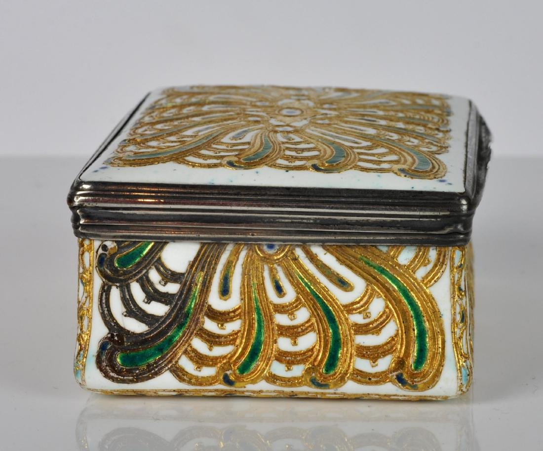 French Silver, Enamel & Gilt Trinket Box - 3