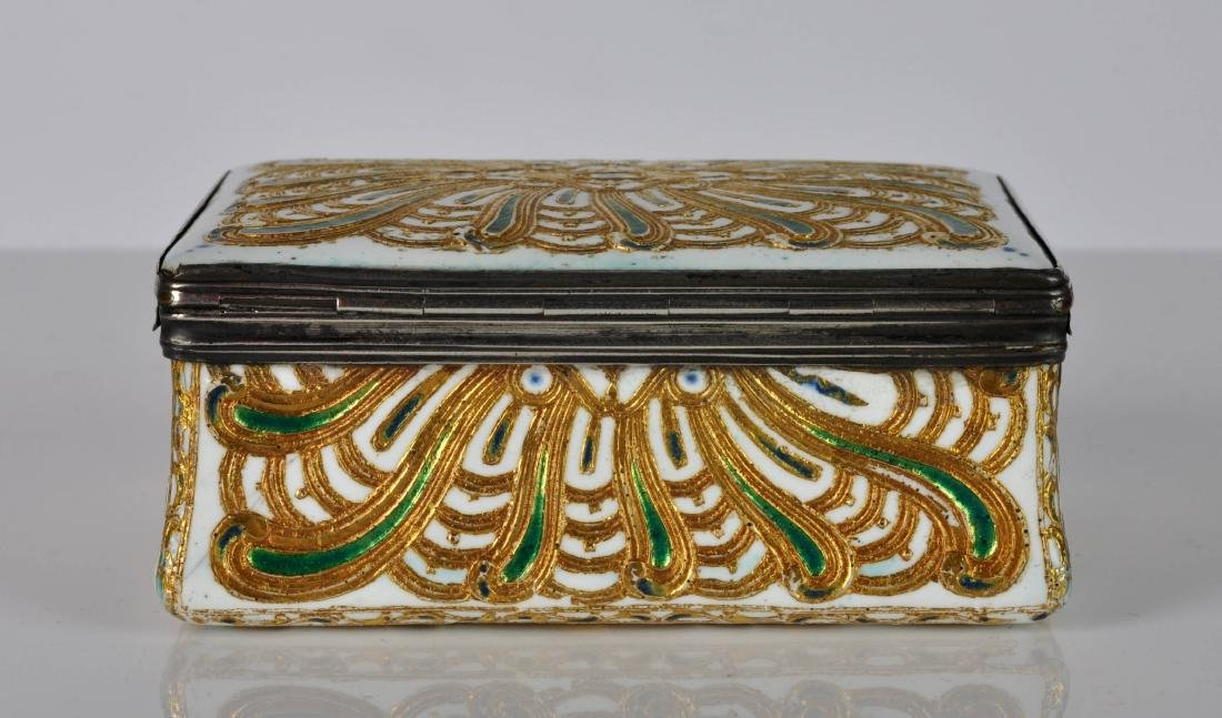 French Silver, Enamel & Gilt Trinket Box - 4