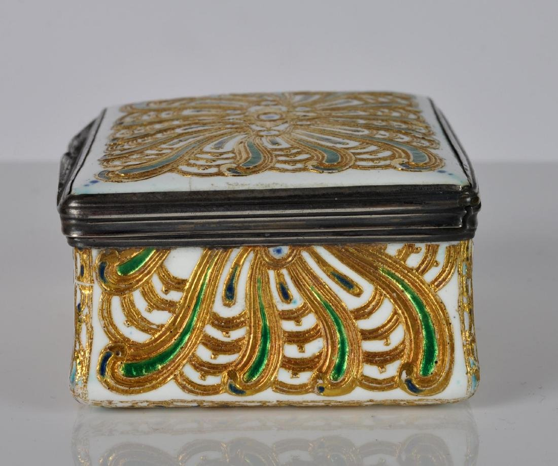 French Silver, Enamel & Gilt Trinket Box - 5