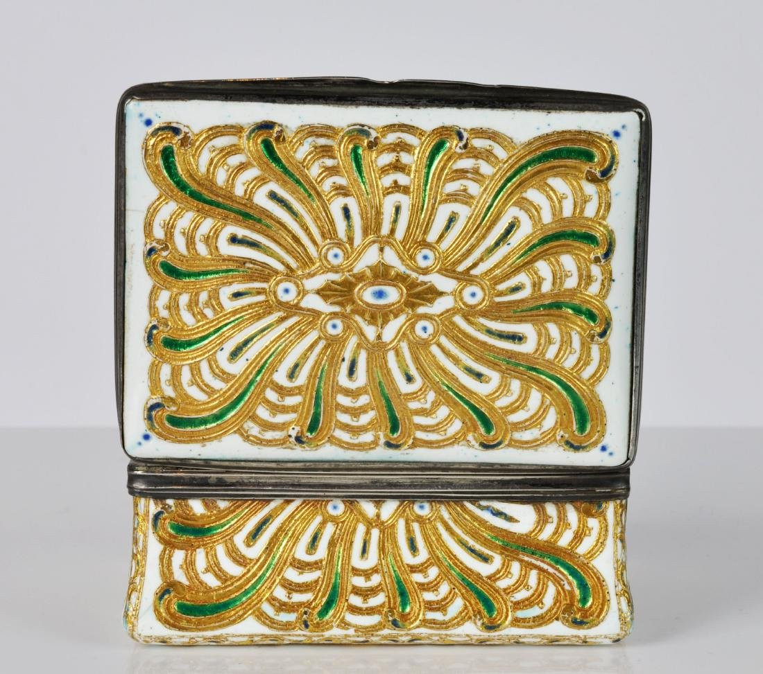French Silver, Enamel & Gilt Trinket Box - 7