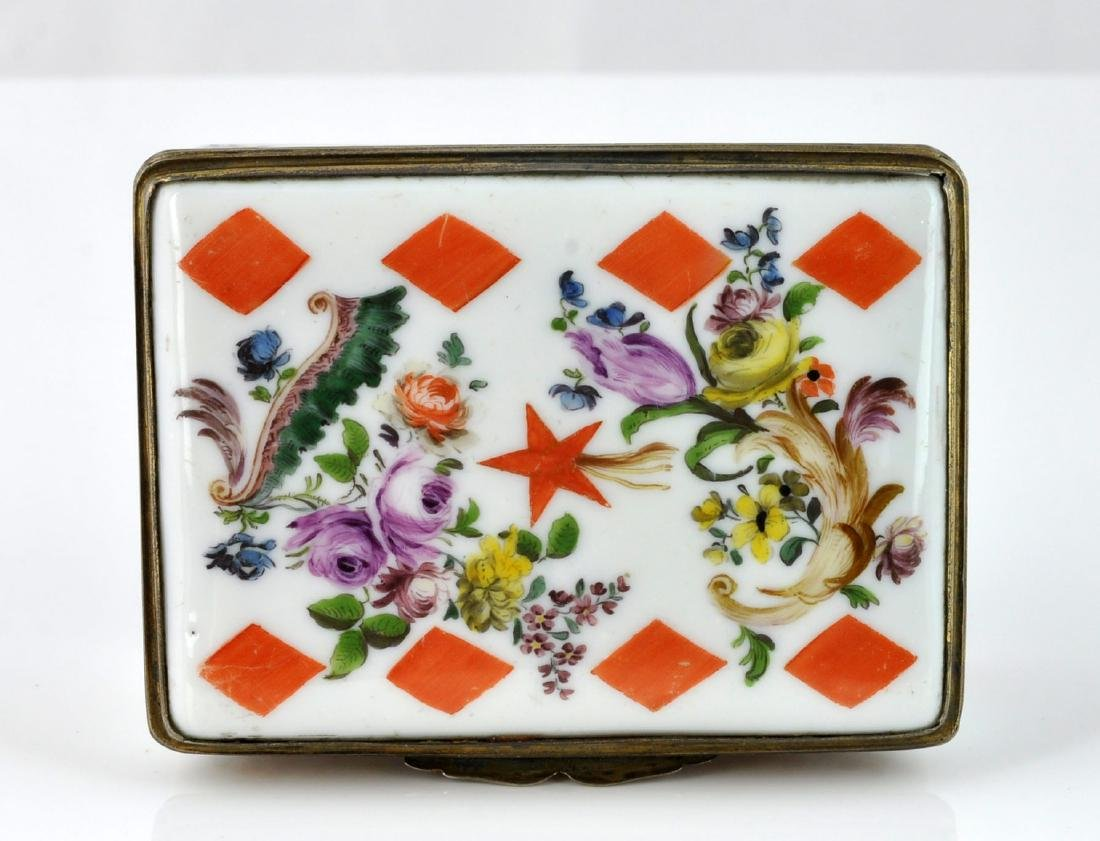 German Porcelain Comet Card Game Snuff Box - 9