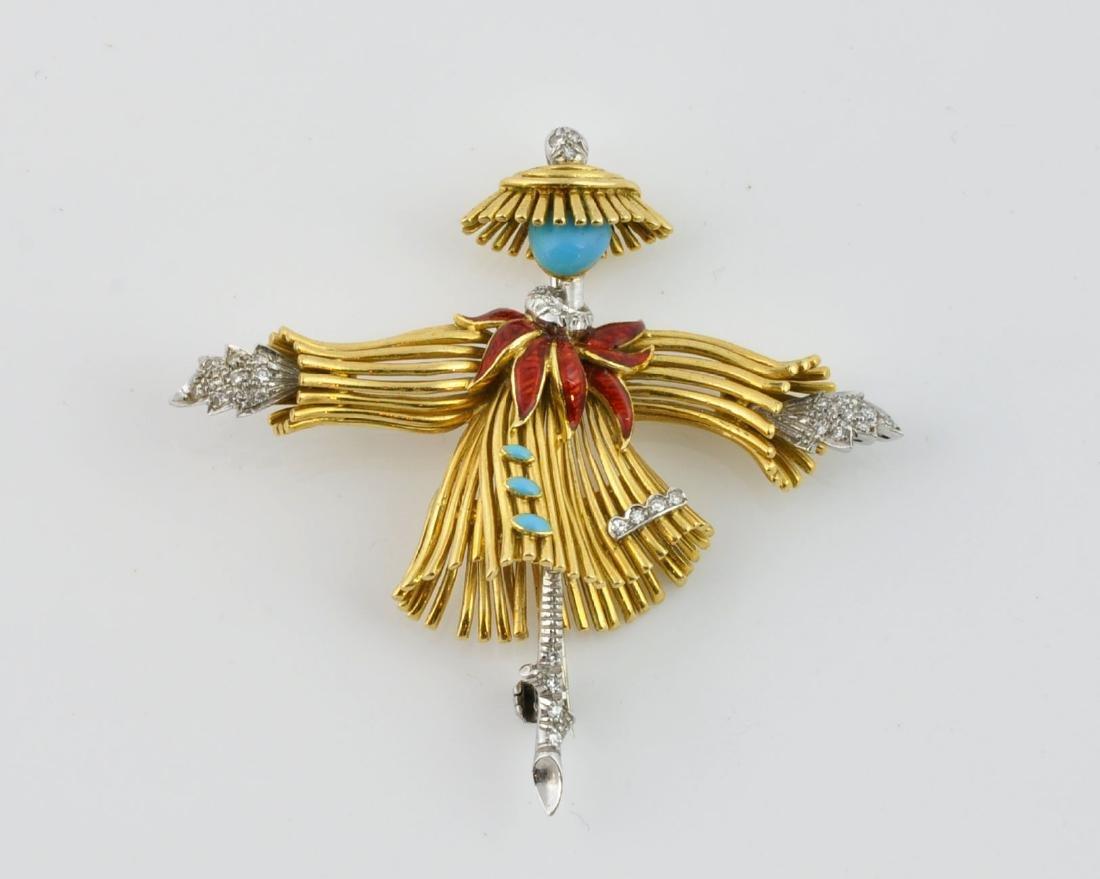 18kt Gold, Diamond &Turquoise Dancer Brooch