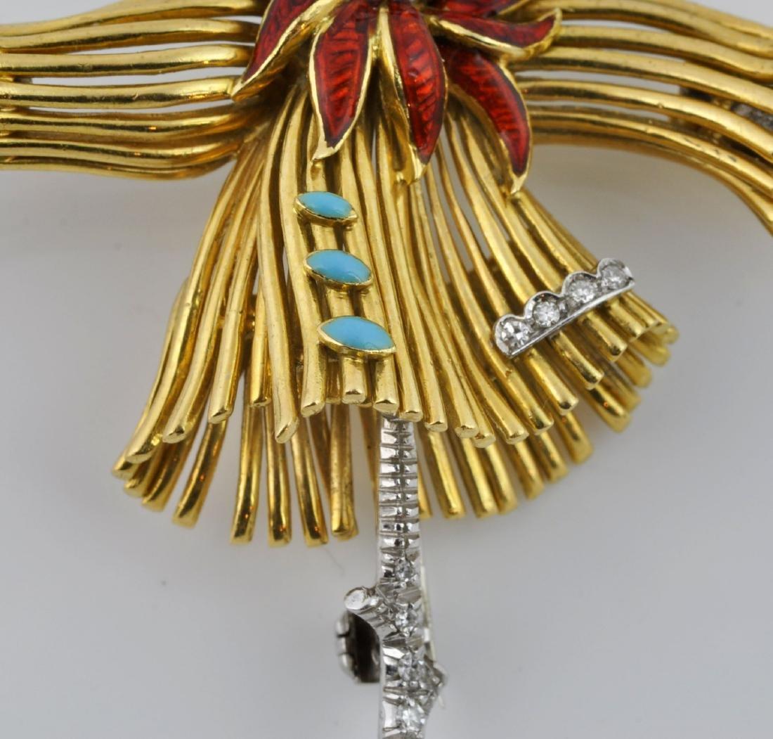 18kt Gold, Diamond &Turquoise Dancer Brooch - 4