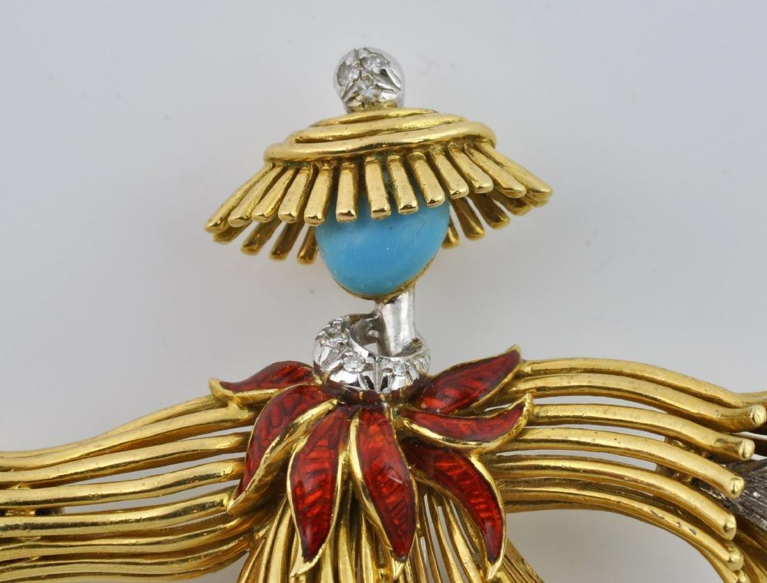 18kt Gold, Diamond &Turquoise Dancer Brooch - 5