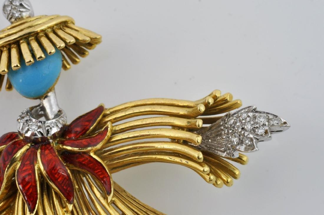 18kt Gold, Diamond &Turquoise Dancer Brooch - 6