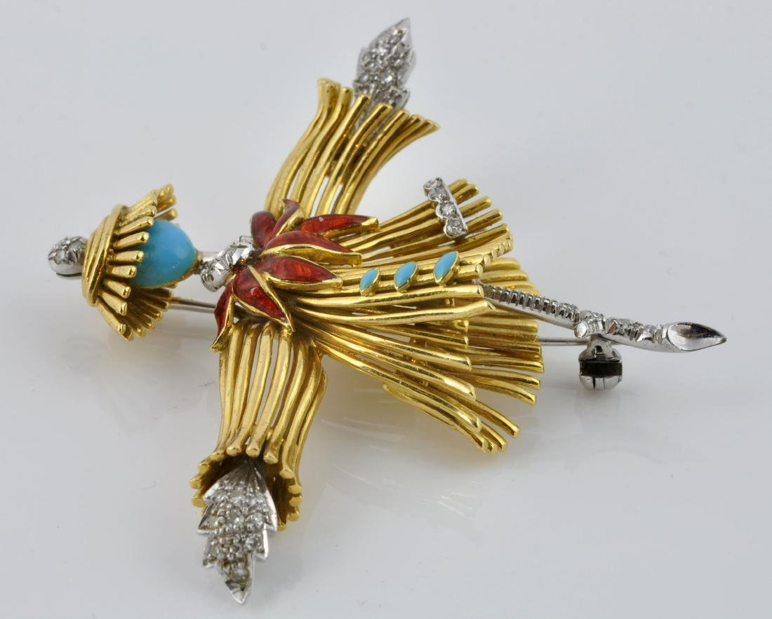 18kt Gold, Diamond &Turquoise Dancer Brooch - 7