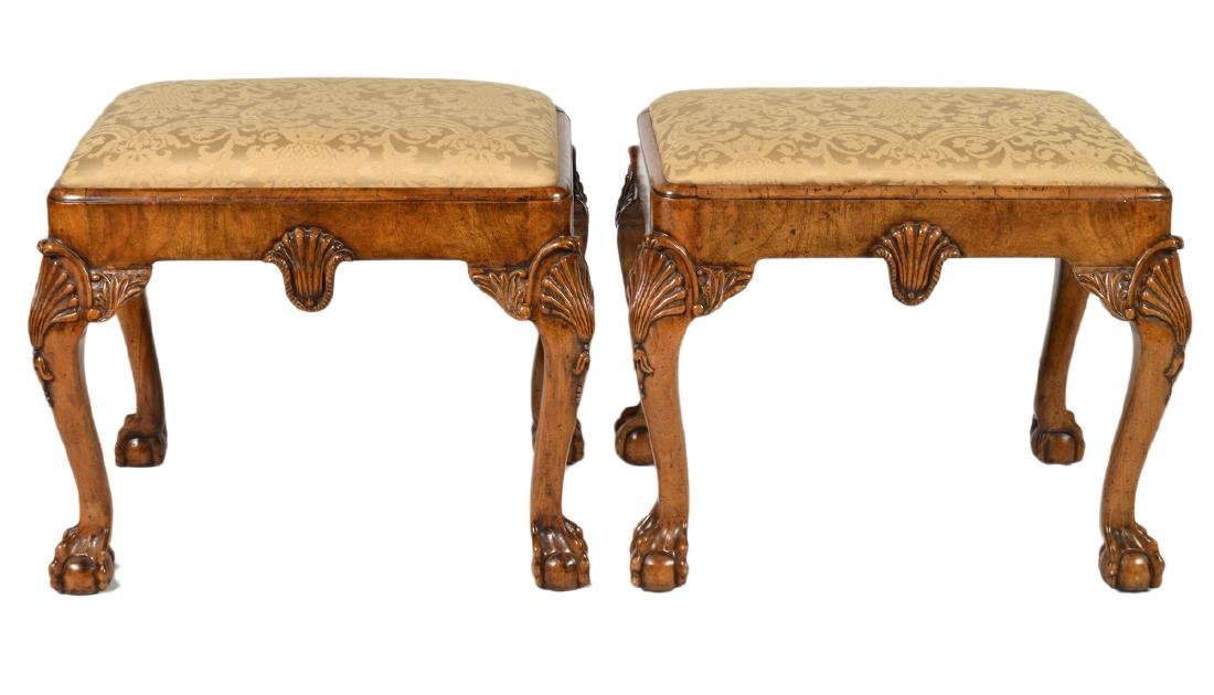 Pr. English Cabinet Made Chippendale Style Benches