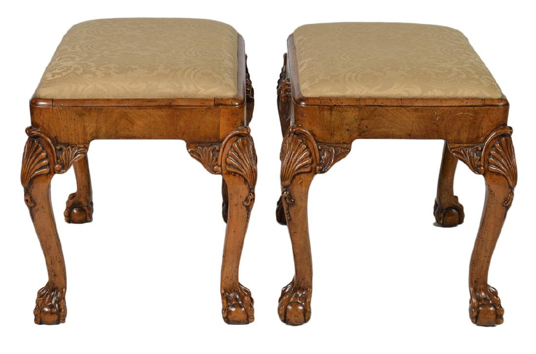 Pr. English Cabinet Made Chippendale Style Benches - 4