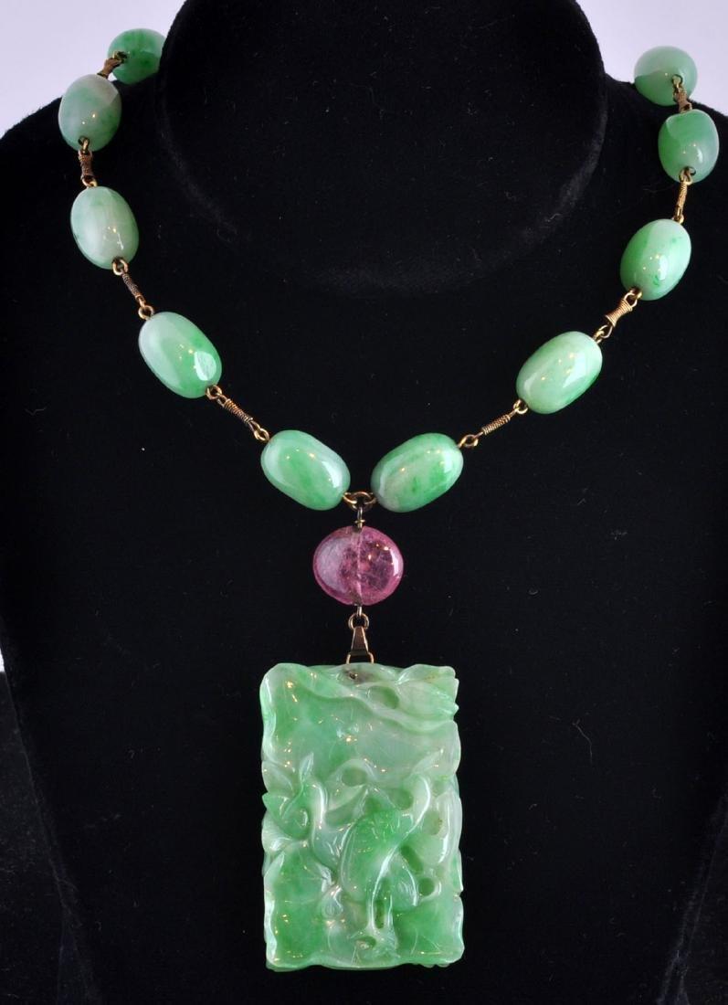Jade Beads w/ Jade Medallion & Pink Tourmaline
