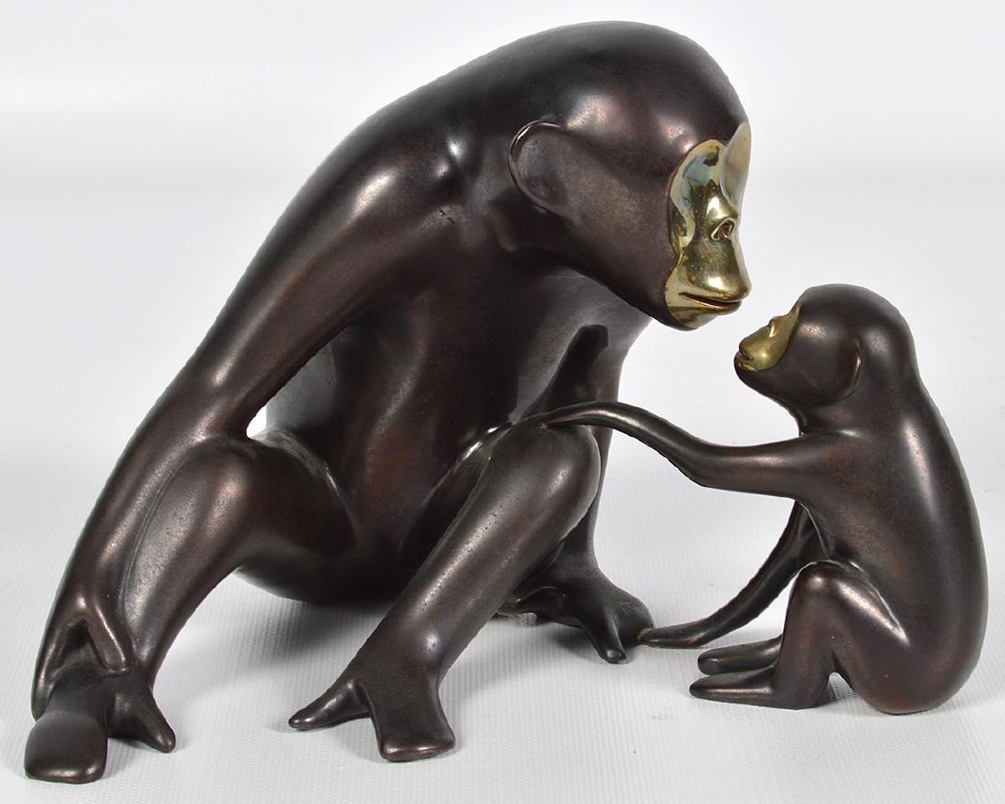 Loet Vanderveen 20th C. Bronze Chimpanzee & Baby