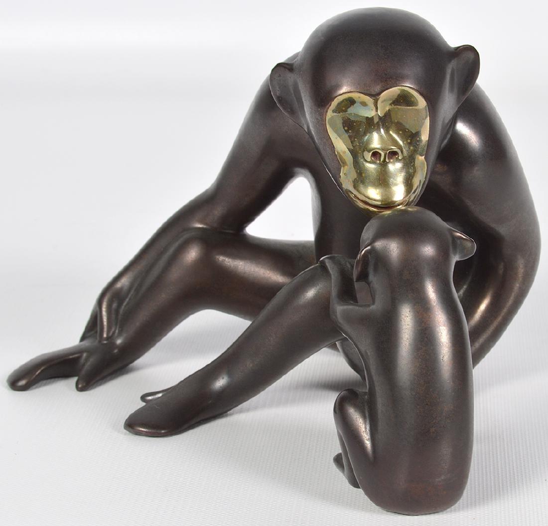 Loet Vanderveen 20th C. Bronze Chimpanzee & Baby - 2