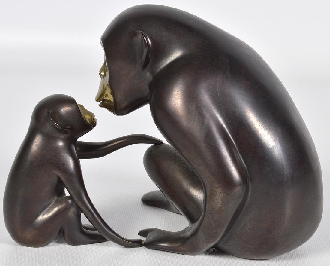 Loet Vanderveen 20th C. Bronze Chimpanzee & Baby - 3