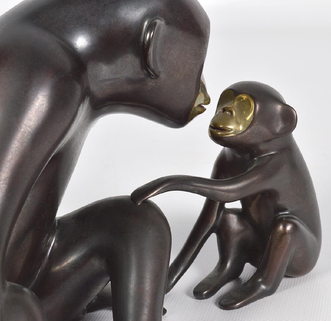 Loet Vanderveen 20th C. Bronze Chimpanzee & Baby - 7