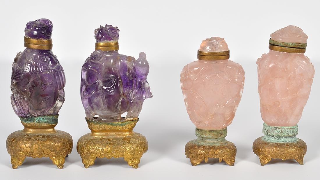 2 Rose Quartz & 2 Amethyst Chinese Snuff Bottles
