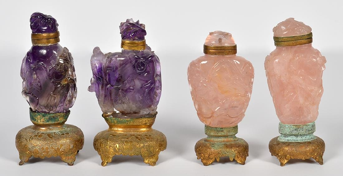 2 Rose Quartz & 2 Amethyst Chinese Snuff Bottles - 3