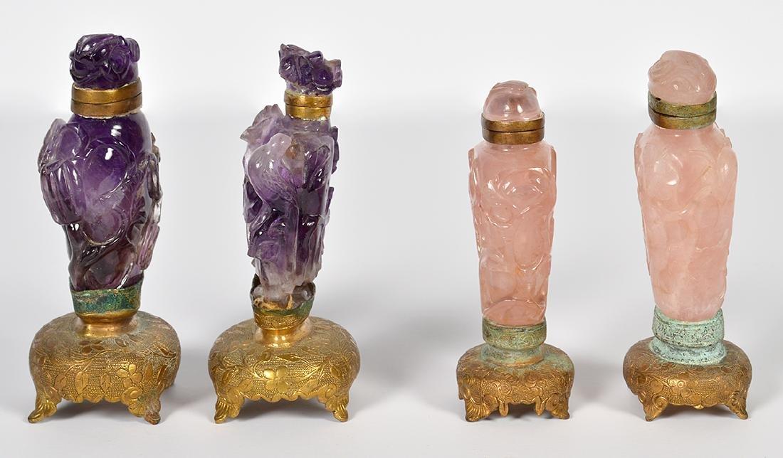2 Rose Quartz & 2 Amethyst Chinese Snuff Bottles - 4