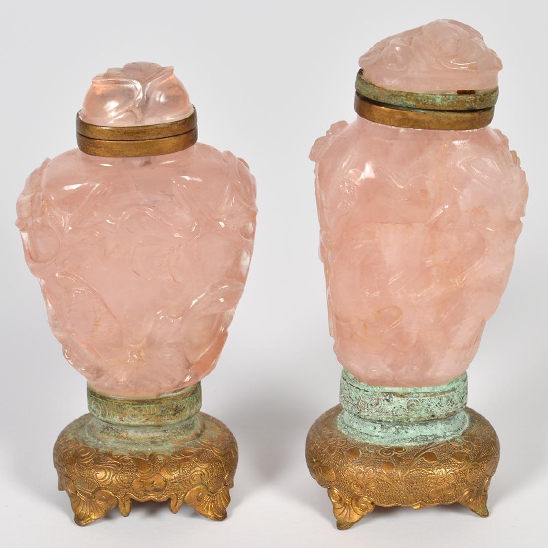 2 Rose Quartz & 2 Amethyst Chinese Snuff Bottles - 5