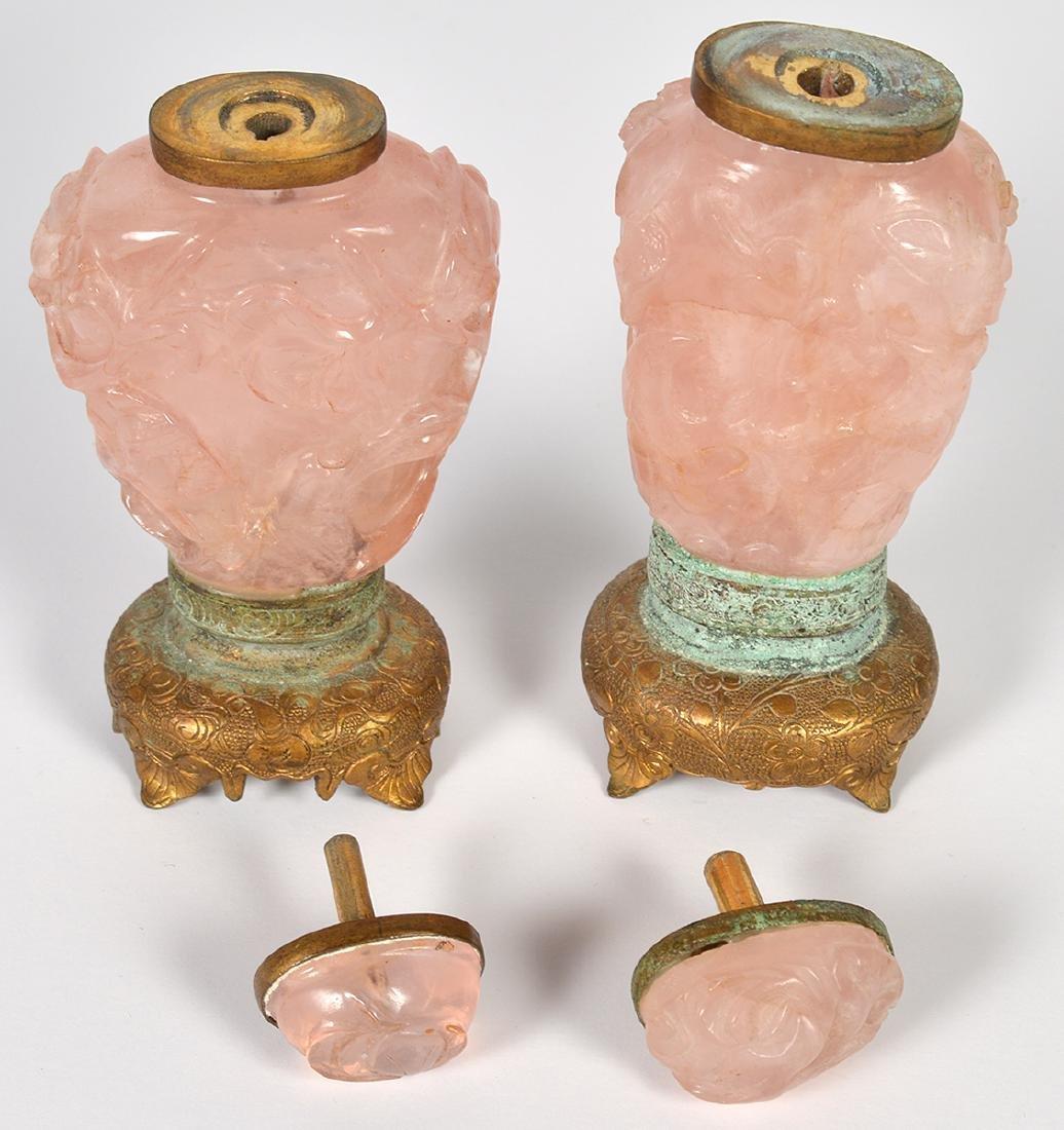 2 Rose Quartz & 2 Amethyst Chinese Snuff Bottles - 6