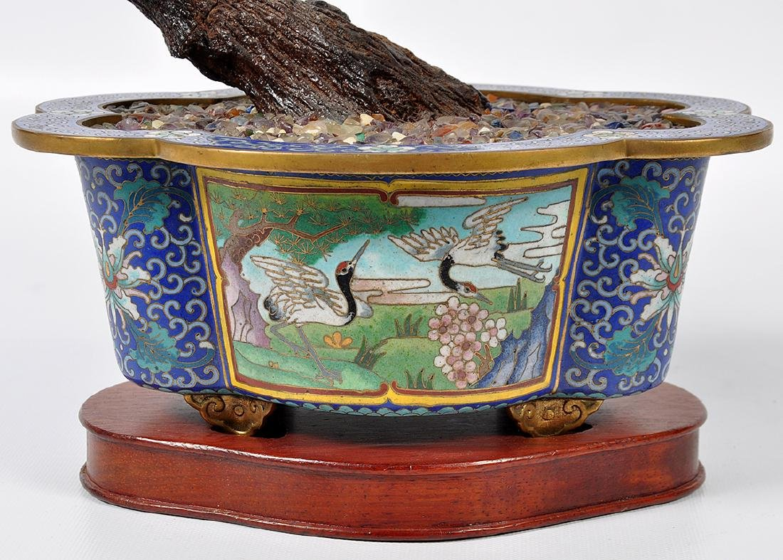 Chinese Lapis Tree Cloisonné Base - 10