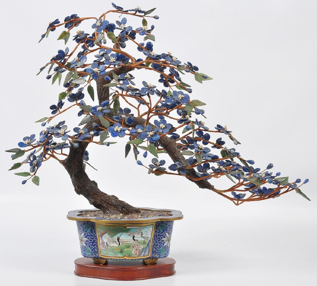 Chinese Lapis Tree Cloisonné Base