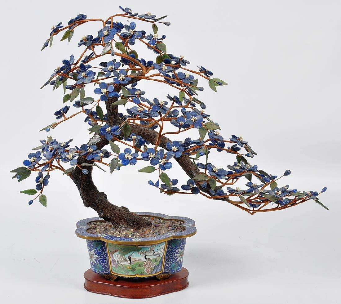 Chinese Lapis Tree Cloisonné Base - 2