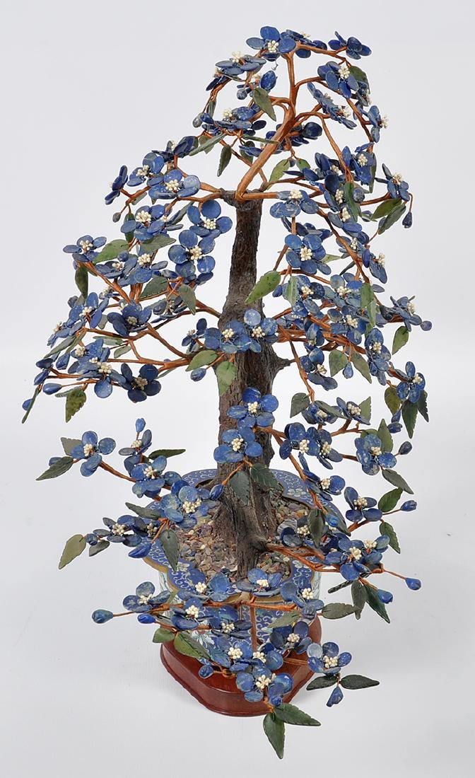 Chinese Lapis Tree Cloisonné Base - 3