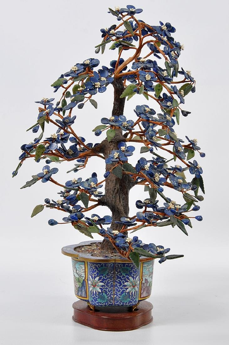 Chinese Lapis Tree Cloisonné Base - 4