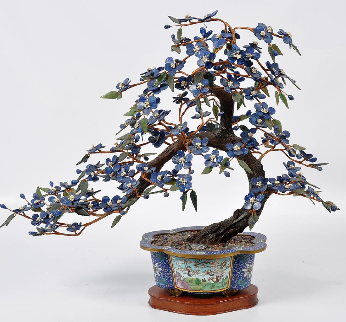 Chinese Lapis Tree Cloisonné Base - 5