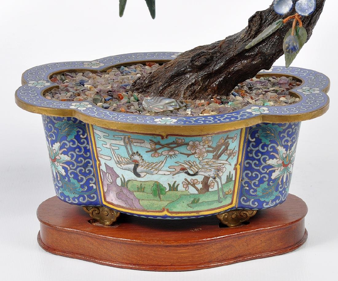 Chinese Lapis Tree Cloisonné Base - 6