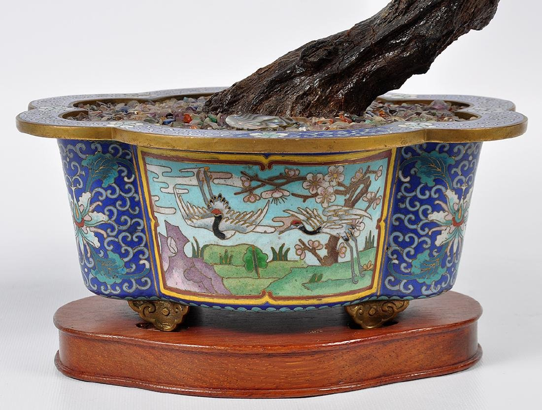 Chinese Lapis Tree Cloisonné Base - 7